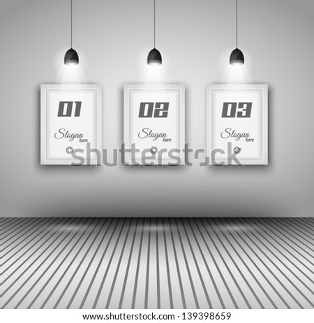 Elegant infographics design template with shopfront elements. lamp with directional spot lights and panel to past your products. - stock vector
