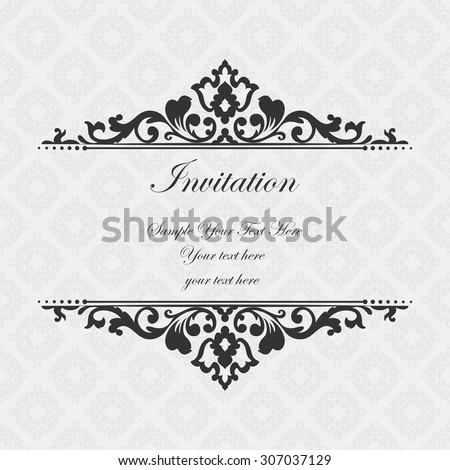 Elegant invitation. Decorative vintage frame. Beautiful floral invitation card. Vector damask illustration. - stock vector