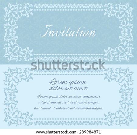 Elegant invitation layout with vintage frames. There is a place for text - stock vector