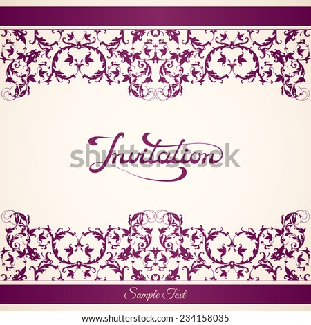 Elegant invitation template with calligraphic inscription on ornamental background. Vector illustration - stock vector