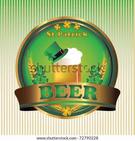 Elegant label beer St. Patrick's day - stock vector