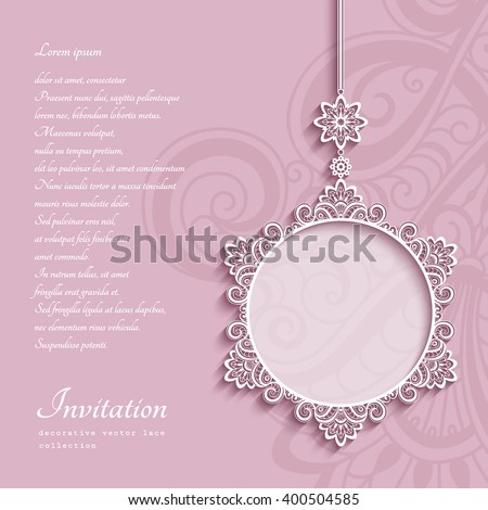 Elegant lace decoration, lacy pendant on ornamental pink background, circle frame, mandala, greeting card, wedding invitation or announcement template, vector eps10