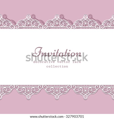 Elegant lace frame with ornamental seamless border, vector lacy background, greeting card or wedding invitation template - stock vector
