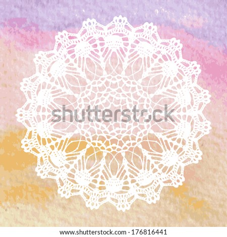 Elegant lacy doily. Crochet mandala. Vector template. Invitation card.  - stock vector