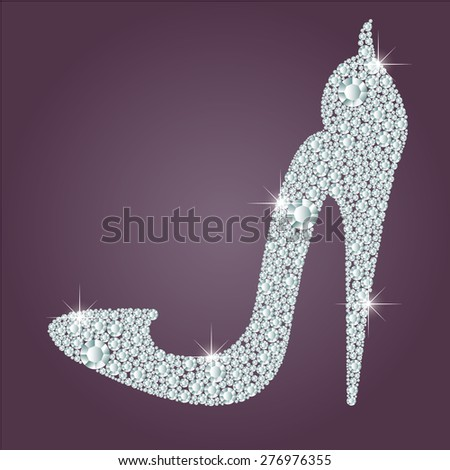 Elegant ladies high heels shoe shape, made with shiny diamonds. Isolated on the round gradient dark violet background. Vector illustration. - stock vector