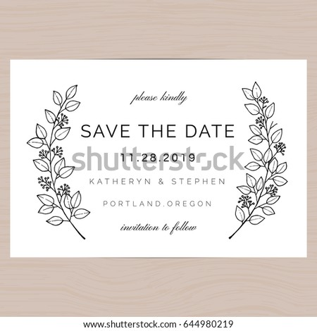 Save Date Wedding Invitation Card Template Stock Vector 425776411