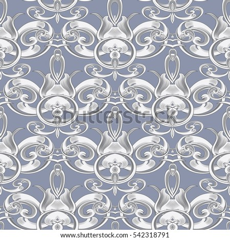 Elegant light baroque seamless pattern. Vintage ornate wallpaper background with antique ornaments.