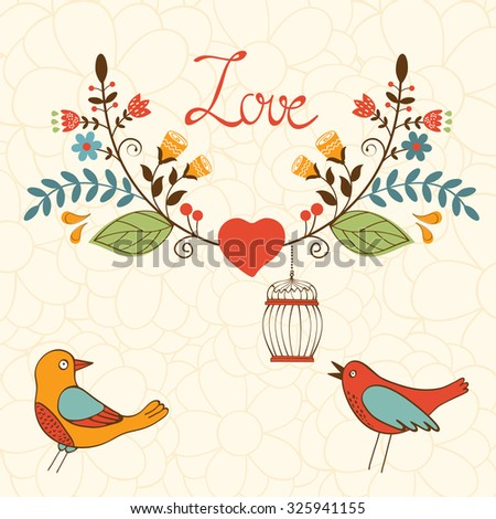 Elegant love card with birds and floral wreath in vector format