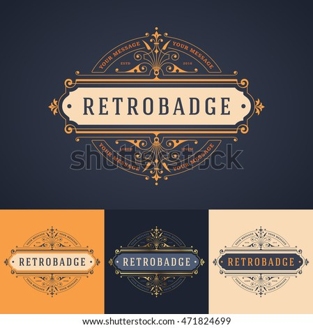 elegant luxury badge/label or logo template in different color versions