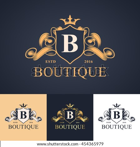 elegant luxury monogram logo or badge template in different color versions