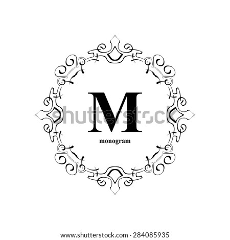 Elegant M monogram design template. Luxury calligraphic emblem frame ornament. Line logo design. Vector illustration good for Boutique, Restaurant, Cafe, Heraldic, Hotel, Fashion, Jewelry. - stock vector