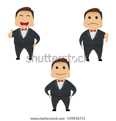 Elegant man doing actions collection on white background - stock vector