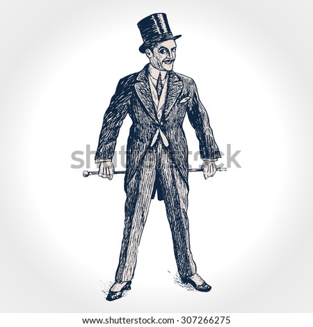 Elegant man of the nineteenth century. The gentleman in a tuxedo and a top hat, holds a cane in hand. Hand drawn vector illustration in vintage engraved style. - stock vector