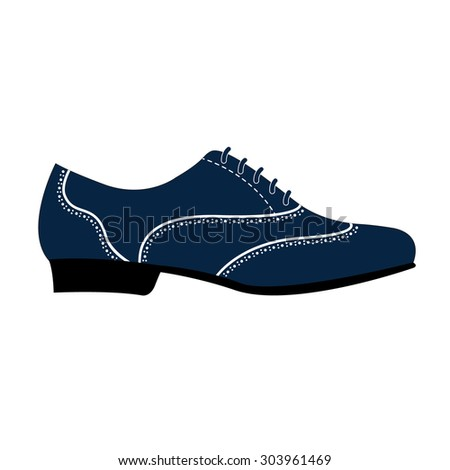 Elegant man's shoe isolated for Argentine tango dancing. Design template for label, banner, postcard, logo. Vector. - stock vector