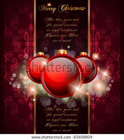 Elegant Merry Christmas and Happy New Year background with vintage seamless wallpaper and glossy baubles. - stock vector