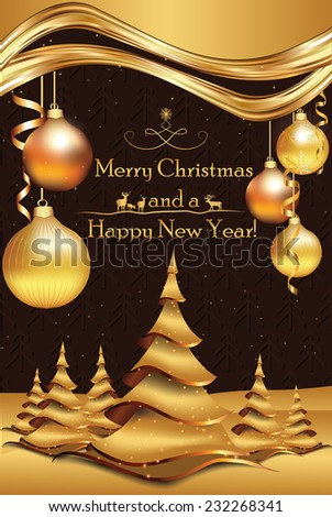 Elegant Merry Christmas and Happy New Year greeting card with Christmas balls, brown golden background and Christmas trees. Custom size for a print card.Print colors used.  - stock vector