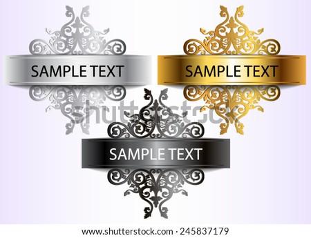 elegant metal ornamental label set / vector illustration eps10  - stock vector