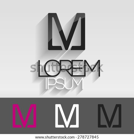 Elegant minimal letter symbol. Alphabet V or M logo design. Vector illustration. - stock vector