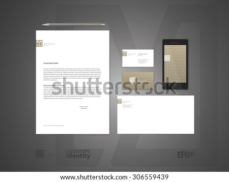 Elegant minimal style corporate identity template. Letter envelope and business card design.  Typographic symbol. Vector illustration. - stock vector
