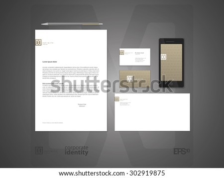 Elegant minimal style corporate identity template. Typographic X letter logo. Letter envelope and business card design.  Typographic symbol. Vector illustration. - stock vector