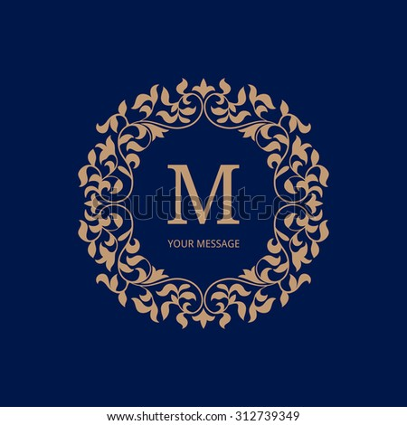 Elegant monogram design template. Calligraphic floral ornament. Can be used for label and invitation design. Business sign, monogram identity for restaurant, boutique, cafe, hotel, heraldic, jewelry. - stock vector