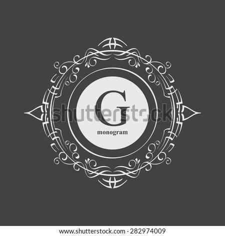 Elegant monogram design template. Luxury calligraphic emblem frame ornament. Line logo design. Vector illustration good for Boutique, Restaurant, Cafe, Heraldic, Hotel, Fashion, Jewelry. - stock vector