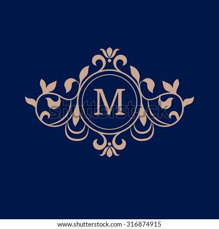 Elegant monogram design template. Wedding monogram. Calligraphic floral ornament. Can be used for label and invitation design .Business sign, monogram identity for restaurant, boutique, hotel - stock vector