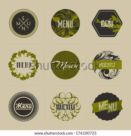 Elegant nature-themed vector badges in green - stock vector