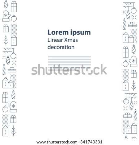 Elegant New Year theme borders, decoration elements. Thickness of strokes is changeable. - stock vector