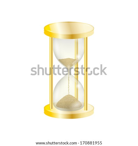elegant old gold sandglass on white background