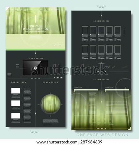 elegant one page website design template with blurred background - stock vector