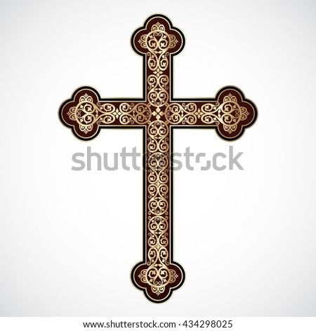elegant ornamental golden cross / vector illustration - stock vector