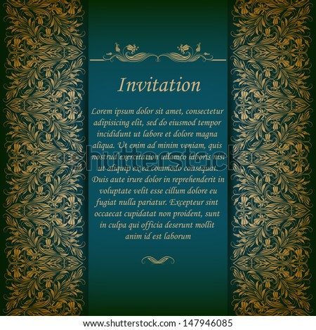 Elegant ornate background with lace seamless ornament for invitations, greeting card, menu. Floral elements, place for text. Vector EPS 10. - stock vector