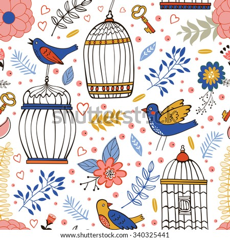 Elegant pattern with flowers, bird cages and birds. vector illustration - stock vector