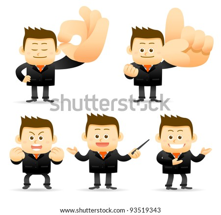 Elegant People Series | Businessman showing ok,NO.1,good,teaching,demo  hand sign - stock vector