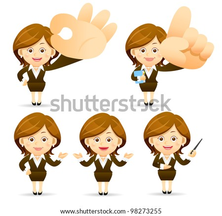 Elegant People Series | Businesswoman  set - stock vector