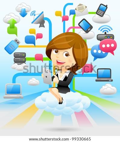 Elegant People Series   Businesswoman set - stock vector