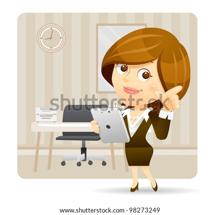 Elegant People Series | Businesswoman  with Tablet pc set - stock vector