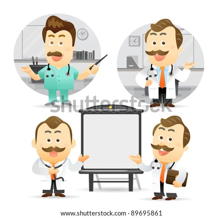 Elegant People Series | Doctor giving presentation with projection screen. - stock vector