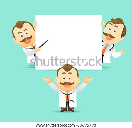 Elegant People Series | Doctor holding blank sign showing something. - stock vector