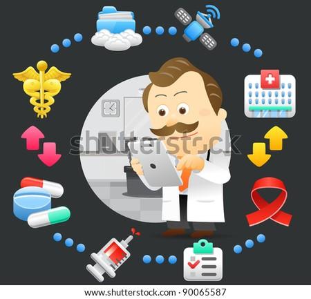 Elegant People Series | doctor,tablet pc,cloud computing set - stock vector