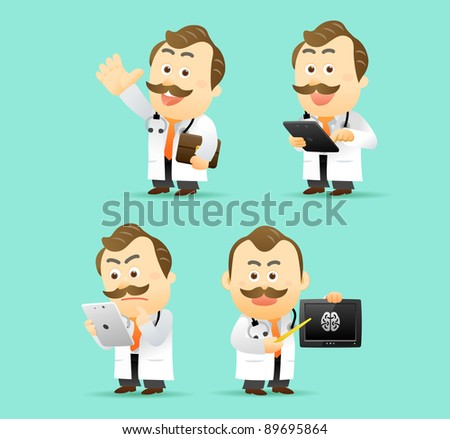 Elegant People Series | Doctor with Tablet PC set - stock vector