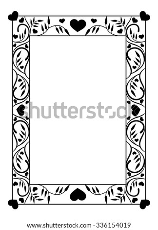 Elegant photo frame with floral silhouettes - stock vector