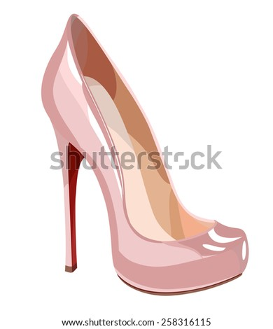 Elegant pink shoe. Vector illustration - stock vector
