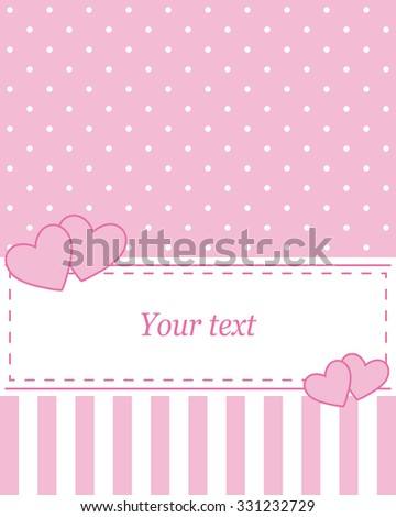 Elegant pink vector card, advertising or wedding invitation with polka dots. On a white background, you can write your own message - stock vector