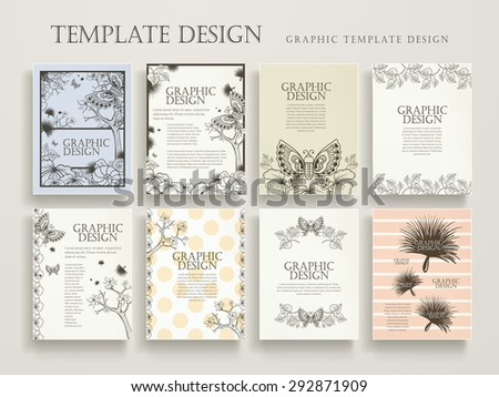 elegant poster template design with exquisite floral and butterflies elements - stock vector