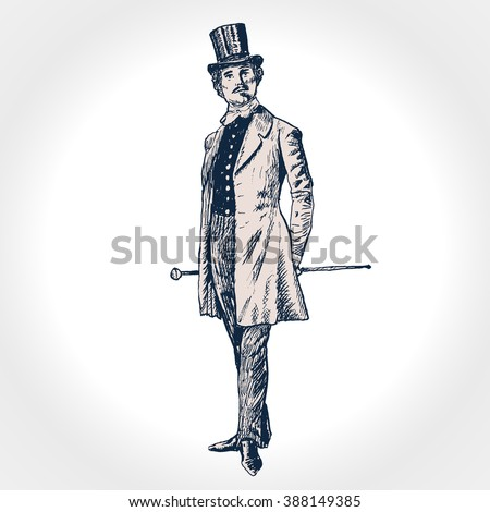 Elegant proud man of the nineteenth century. The gentleman in a frock coat and a top hat, holds a cane in hand. Hand drawn vector illustration in vintage engraved style - stock vector