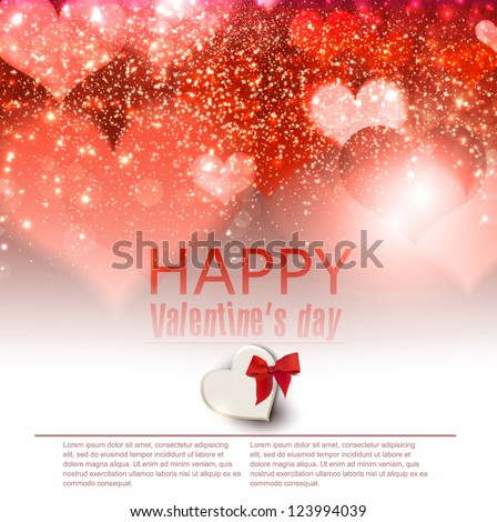 Elegant  red background with hearts and place for text. Valentine's Day. Vector Illustration. - stock vector