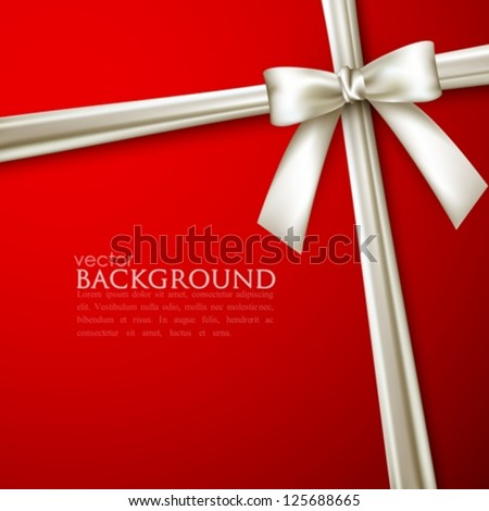 elegant red background with white bow - stock vector