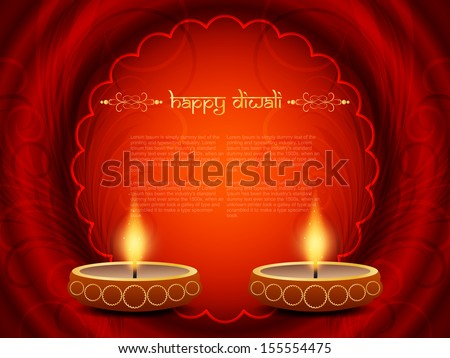 Elegant red color religious background design for diwali festival with beautiful lamps and a circular frame having space for text. vector illustration - stock vector